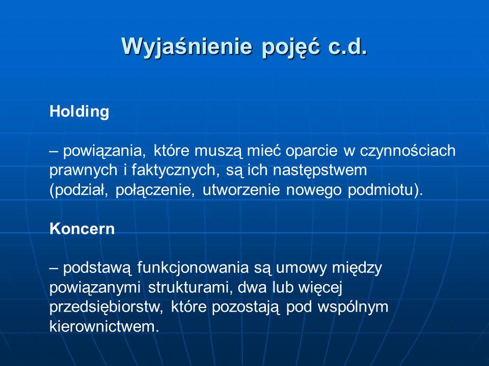 Wyjaśnienie pojęć c.d. Holding