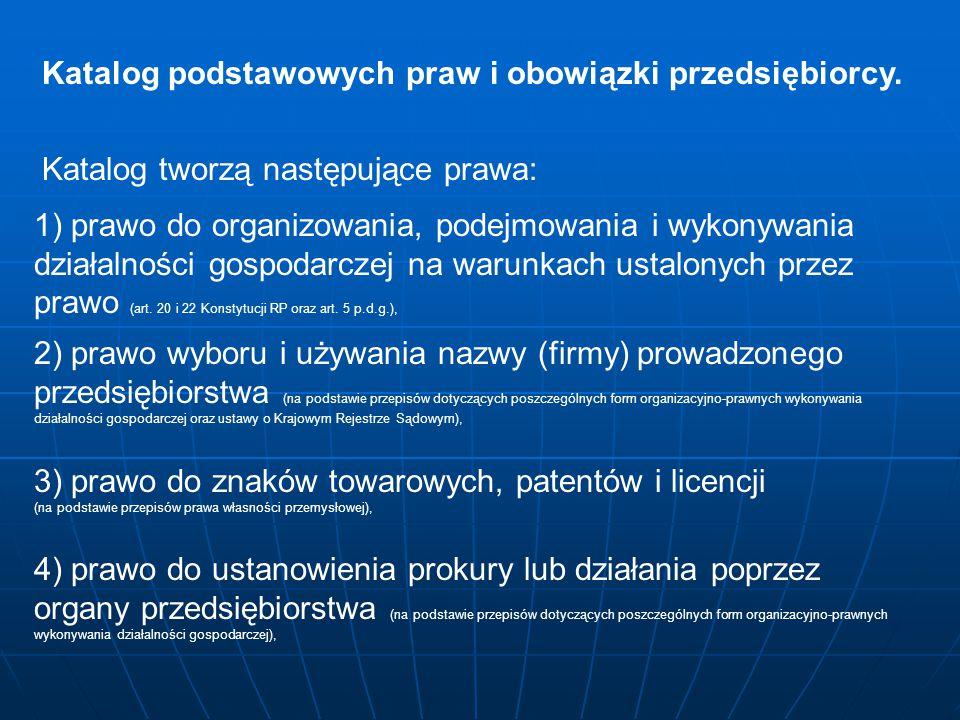 Katalog podstawowych praw i obowiązki przedsiębiorcy.