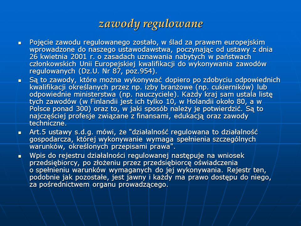 zawody regulowane