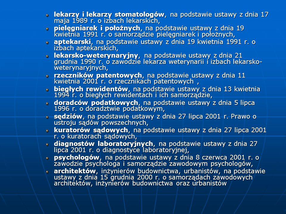 lekarzy i lekarzy stomatologów, na podstawie ustawy z dnia 17 maja 1989 r. o izbach lekarskich,