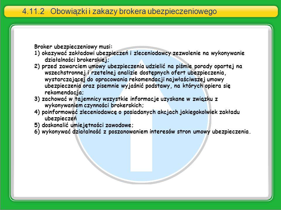 4.11.2 Obowiązki i zakazy brokera ubezpieczeniowego