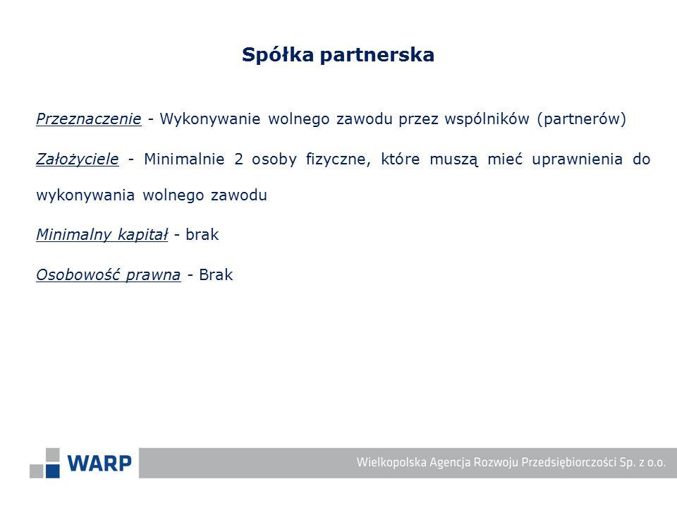 Spółka partnerska Przeznaczenie - Wykonywanie wolnego zawodu przez wspólników (partnerów)