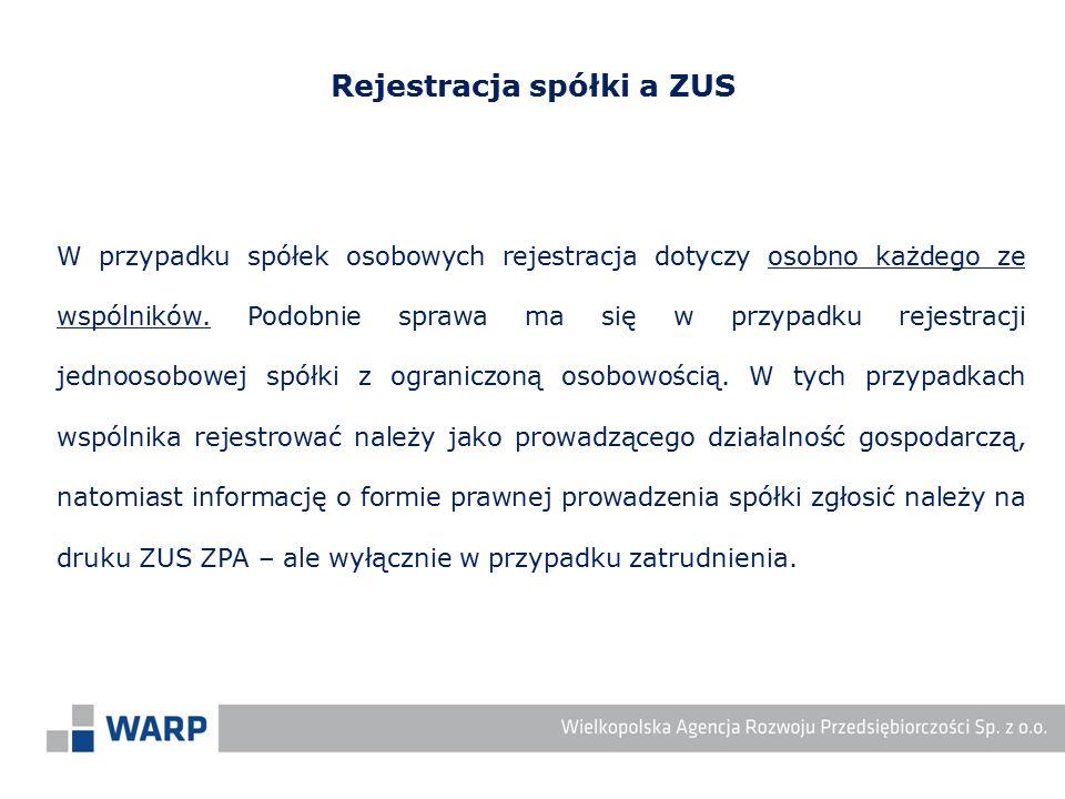 Rejestracja spółki a ZUS