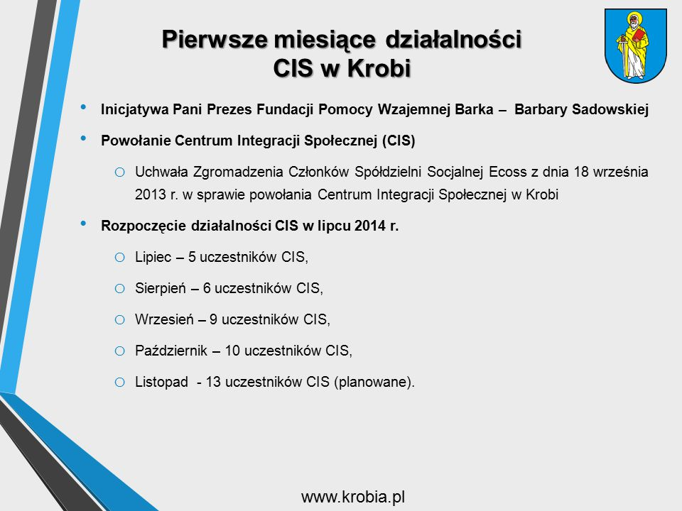 Pierwsze miesiące działalności CIS w Krobi