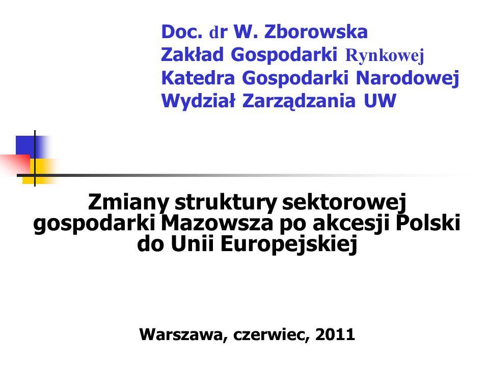 Doc. dr W. Zborowska Zakład Gospodarki Rynkowej Katedra Gospodarki Narodowej Wydział Zarządzania UW