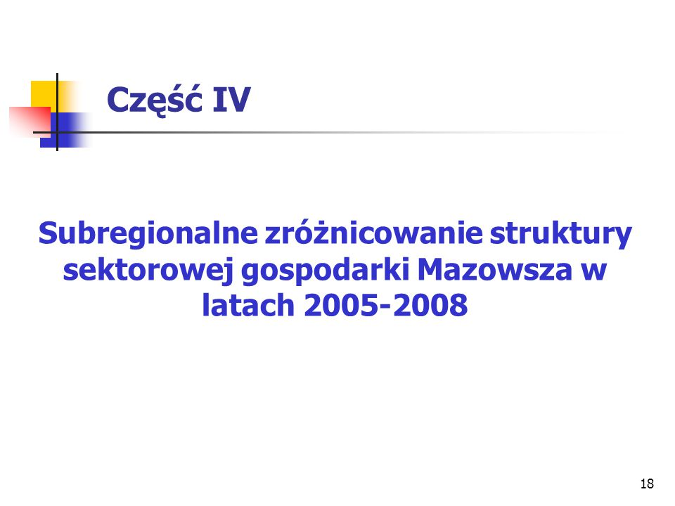 Część IV Subregionalne zróżnicowanie struktury sektorowej gospodarki Mazowsza w latach 2005-2008
