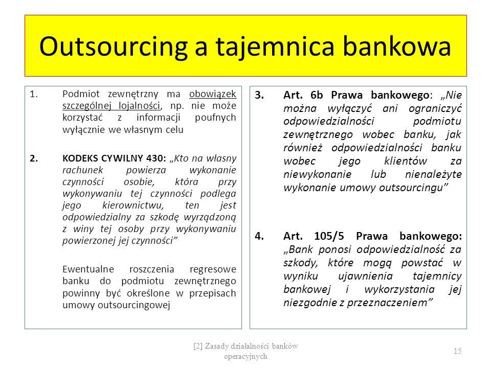Outsourcing a tajemnica bankowa