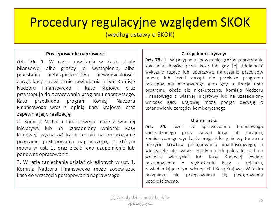 Procedury regulacyjne względem SKOK (według ustawy o SKOK)