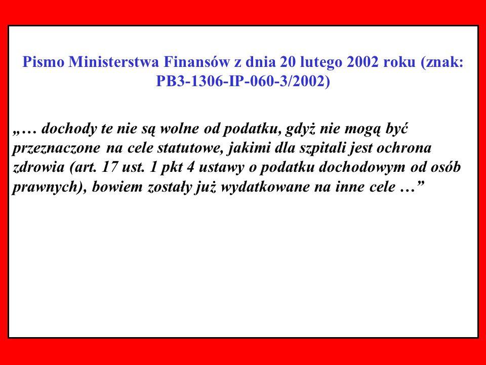 Pismo Ministerstwa Finansów z dnia 20 lutego 2002 roku (znak: PB3-1306-IP-060-3/2002)