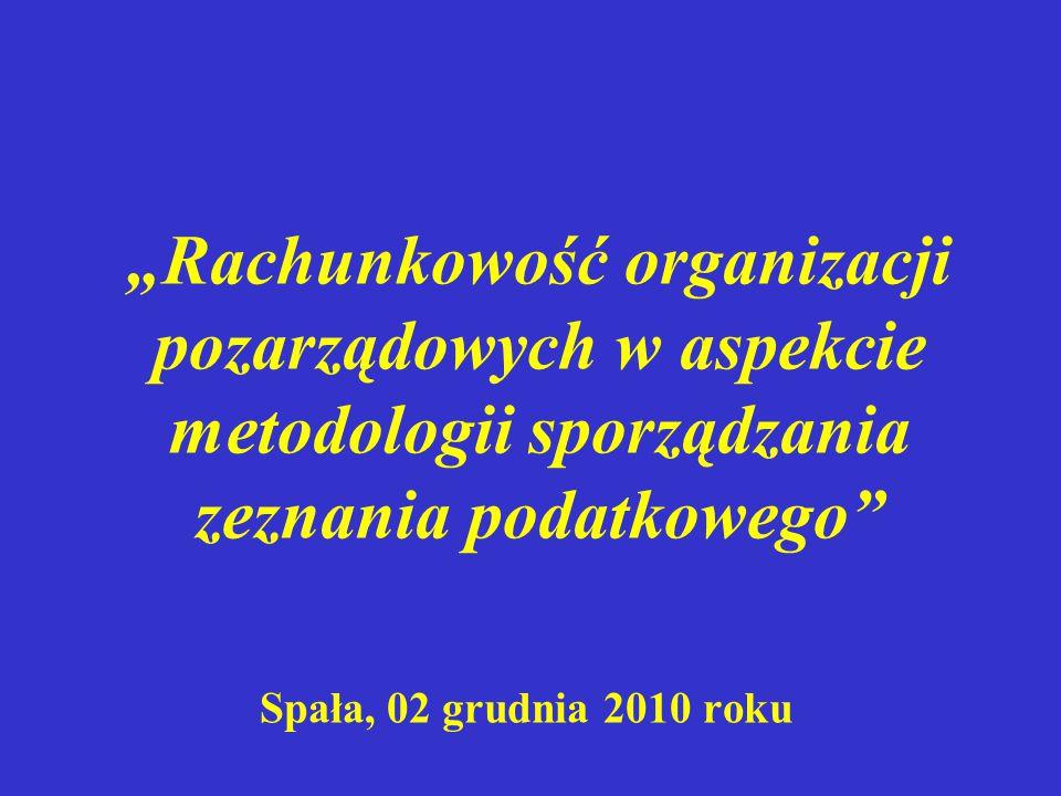 """""""Rachunkowość organizacji pozarządowych w aspekcie metodologii sporządzania zeznania podatkowego"""