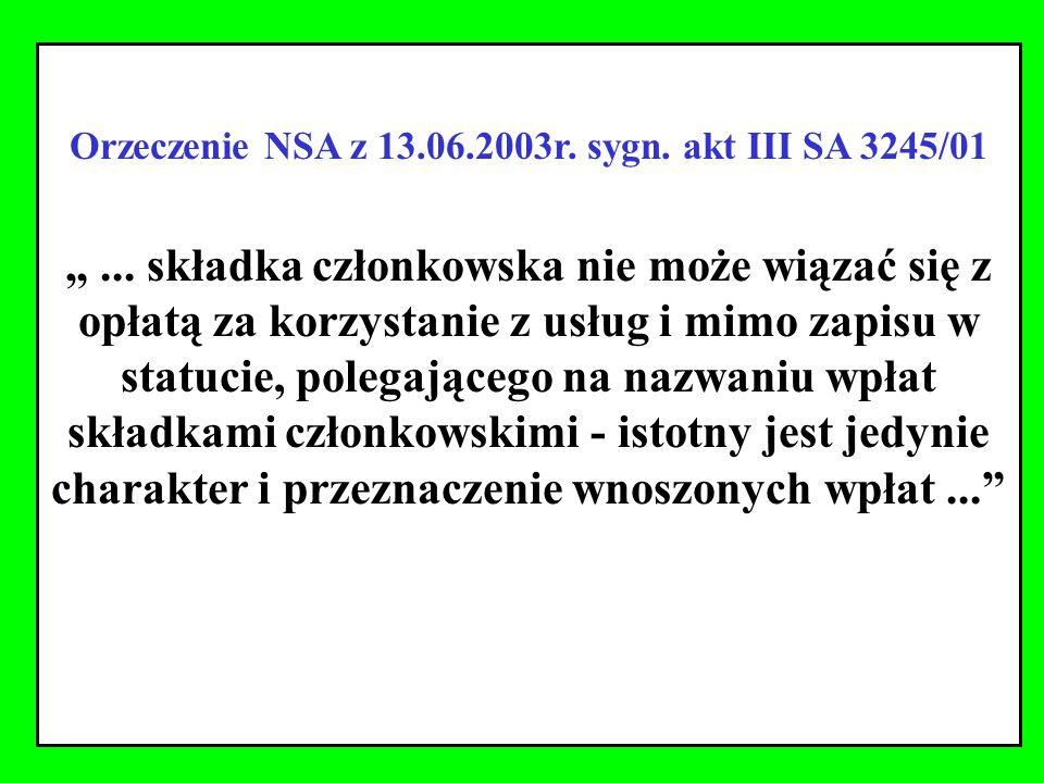 Orzeczenie NSA z 13.06.2003r. sygn. akt III SA 3245/01