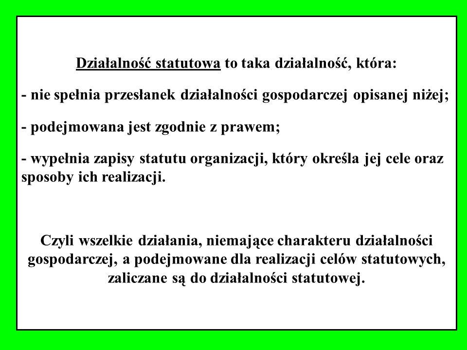 Działalność statutowa to taka działalność, która: