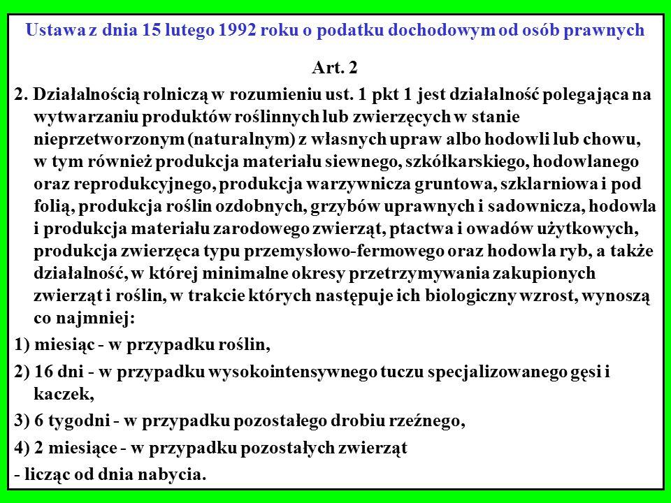 Ustawa z dnia 15 lutego 1992 roku o podatku dochodowym od osób prawnych