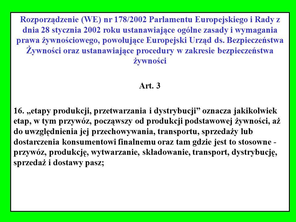 Rozporządzenie (WE) nr 178/2002 Parlamentu Europejskiego i Rady z dnia 28 stycznia 2002 roku ustanawiające ogólne zasady i wymagania prawa żywnościowego, powołujące Europejski Urząd ds. Bezpieczeństwa Żywności oraz ustanawiające procedury w zakresie bezpieczeństwa żywności