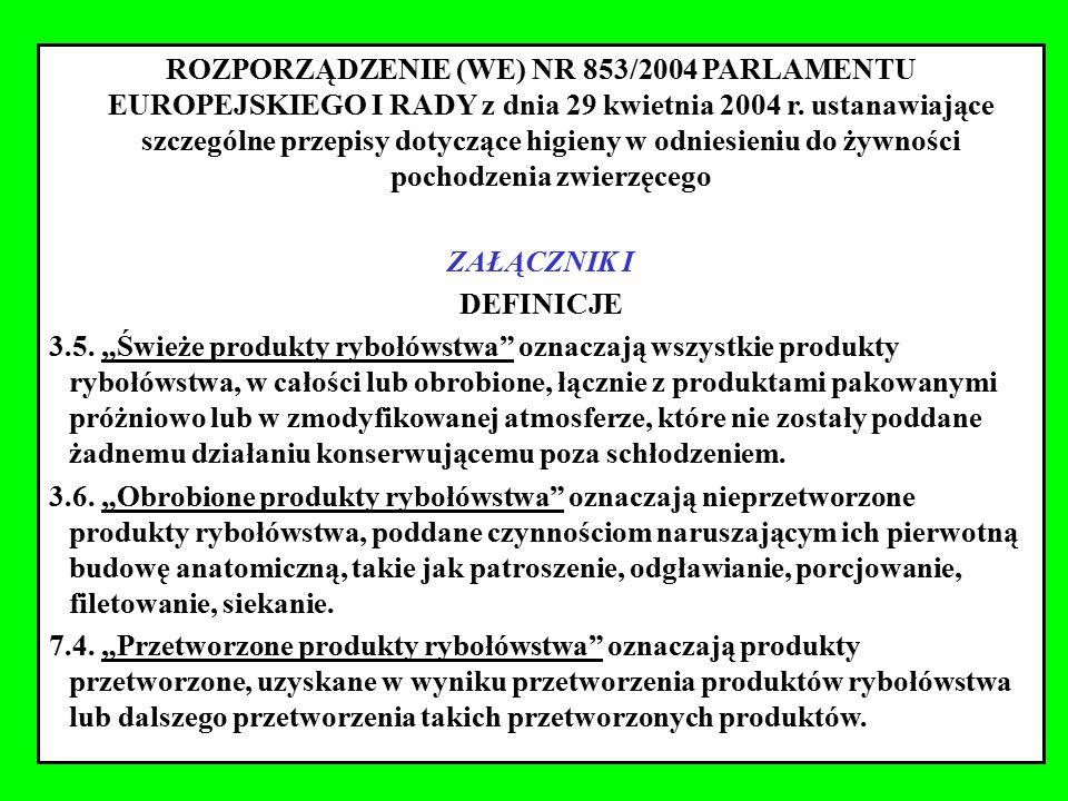 ROZPORZĄDZENIE (WE) NR 853/2004 PARLAMENTU EUROPEJSKIEGO I RADY z dnia 29 kwietnia 2004 r. ustanawiające szczególne przepisy dotyczące higieny w odniesieniu do żywności pochodzenia zwierzęcego