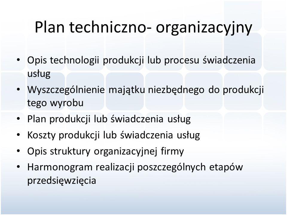 Plan techniczno- organizacyjny