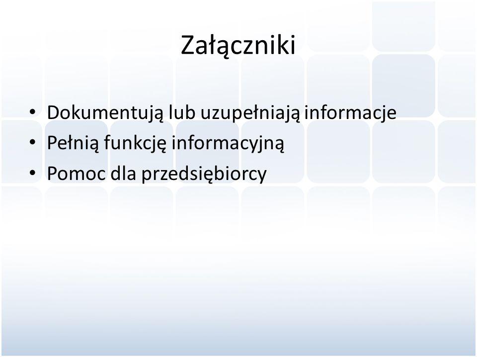 Załączniki Dokumentują lub uzupełniają informacje