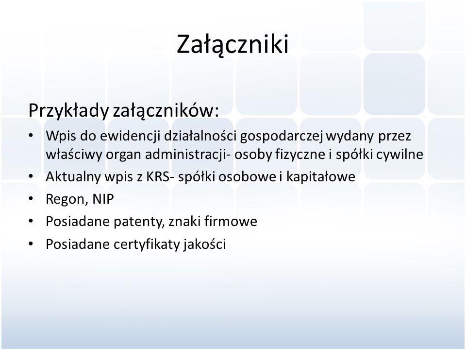Załączniki Przykłady załączników:
