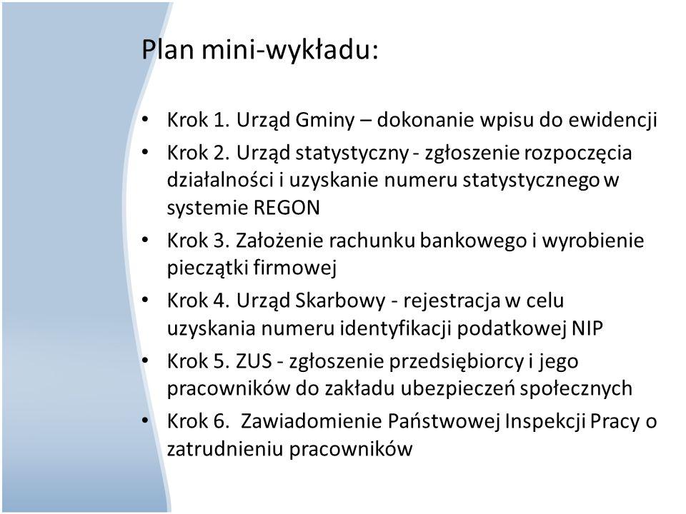 Plan mini-wykładu: Krok 1. Urząd Gminy – dokonanie wpisu do ewidencji