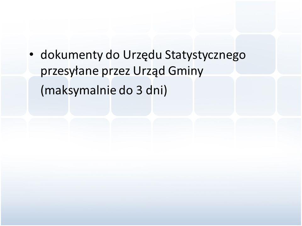 dokumenty do Urzędu Statystycznego przesyłane przez Urząd Gminy
