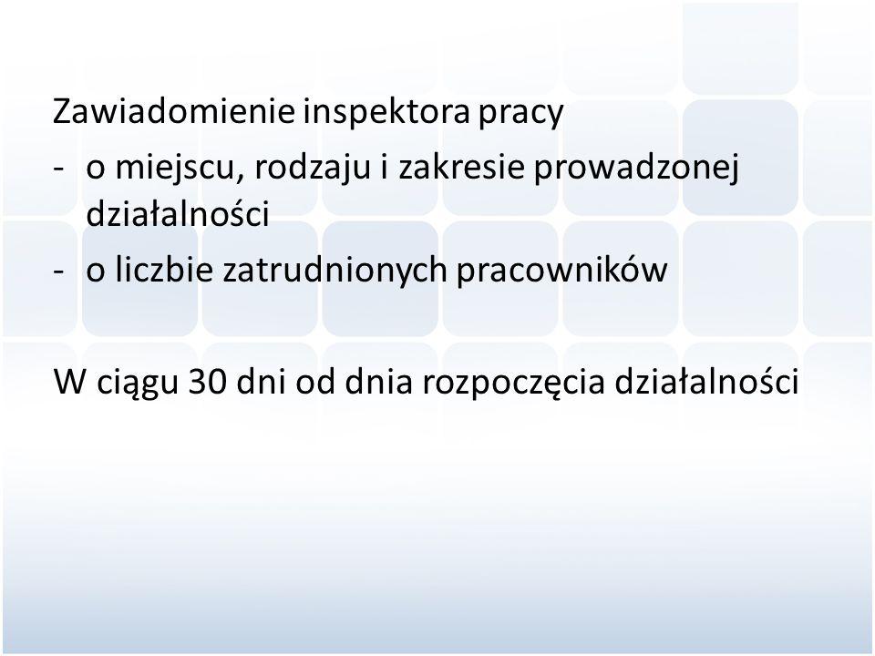 Zawiadomienie inspektora pracy