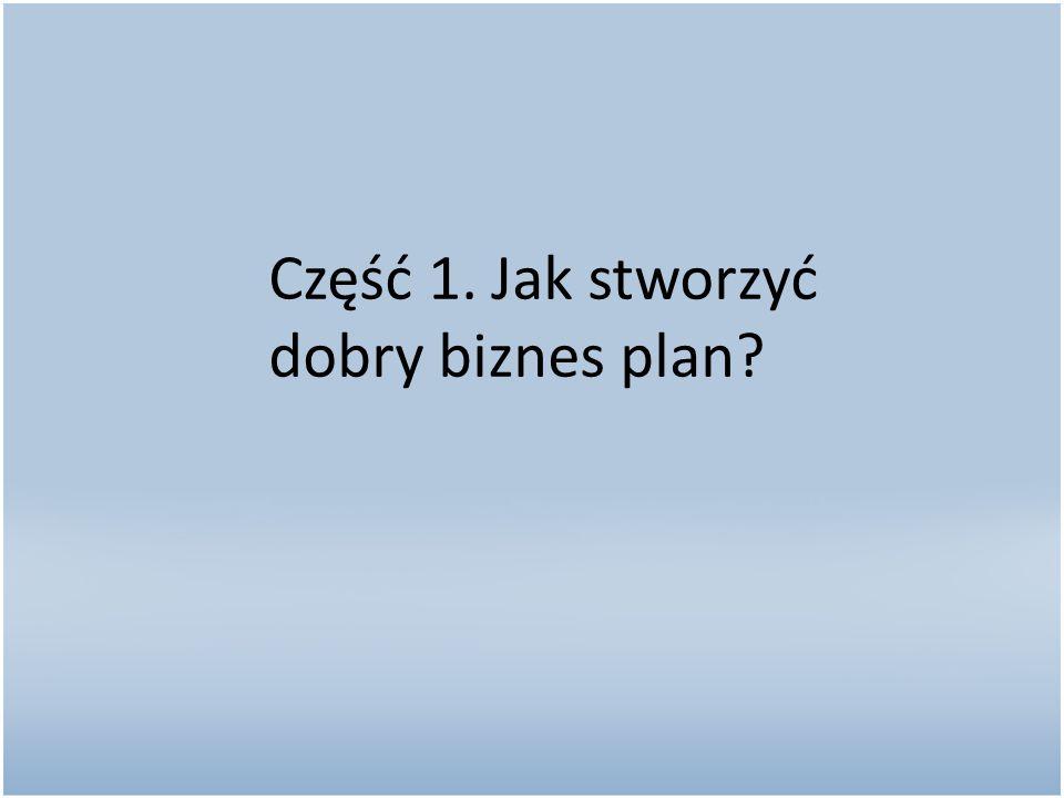 Część 1. Jak stworzyć dobry biznes plan