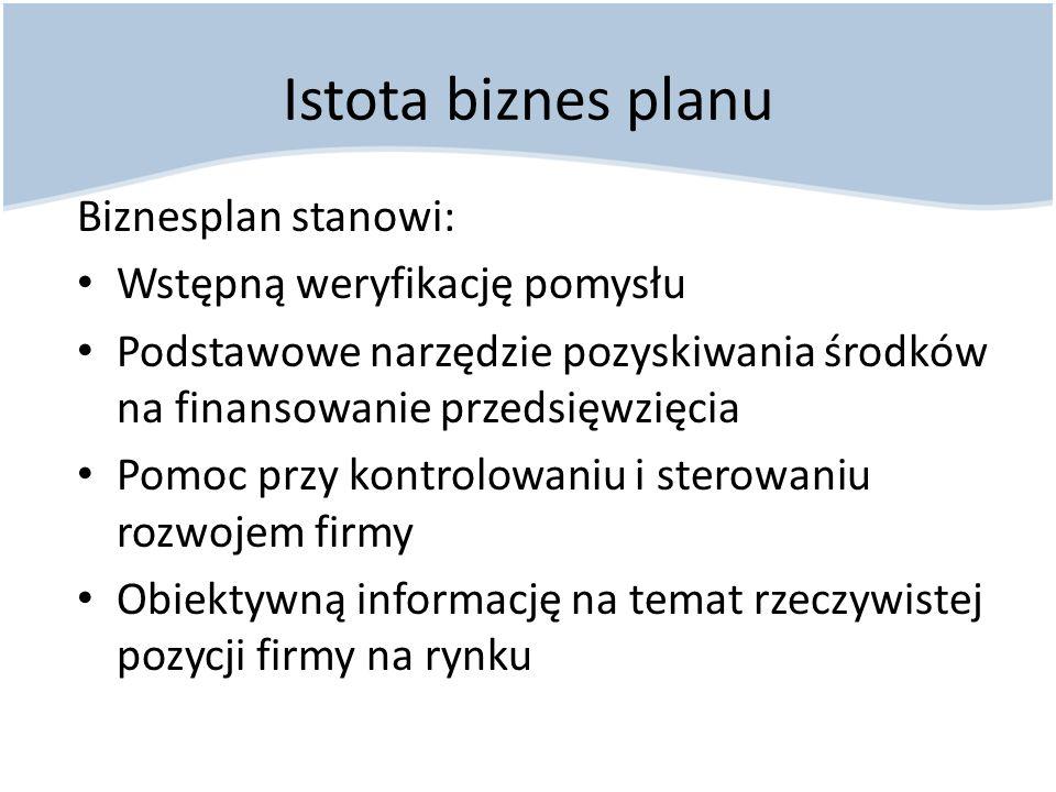 Istota biznes planu Biznesplan stanowi: Wstępną weryfikację pomysłu
