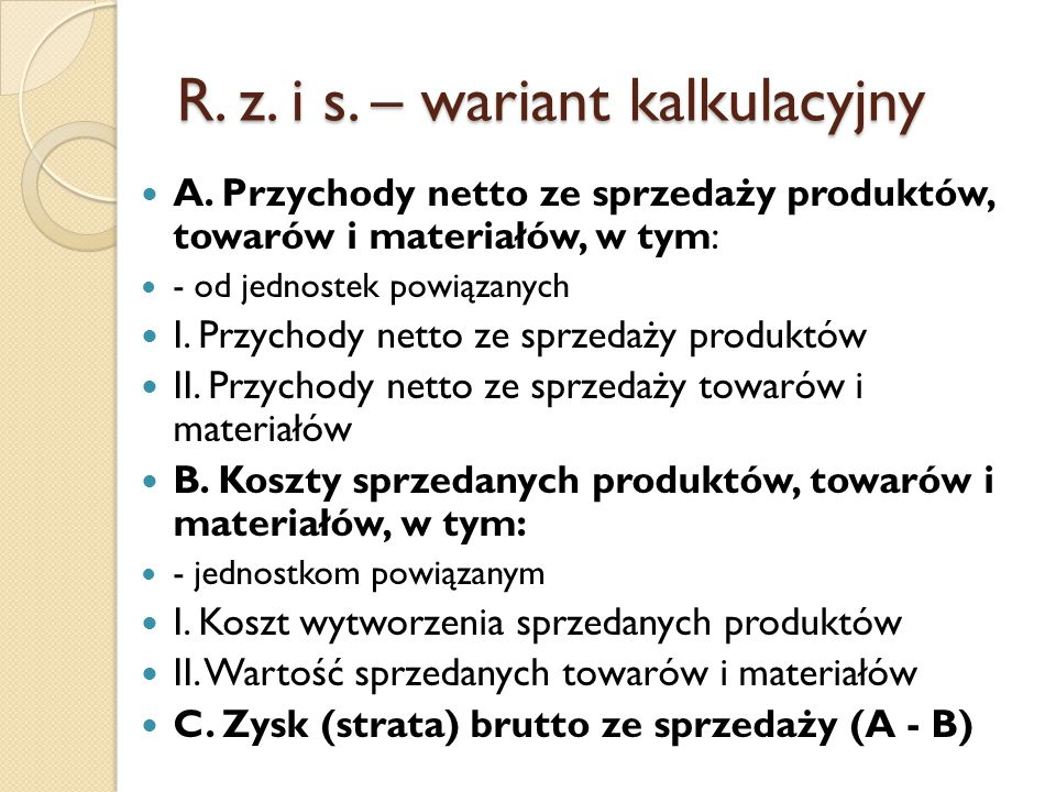 R. z. i s. – wariant kalkulacyjny