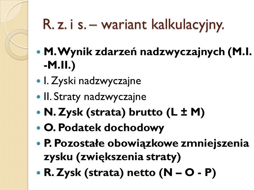 R. z. i s. – wariant kalkulacyjny.