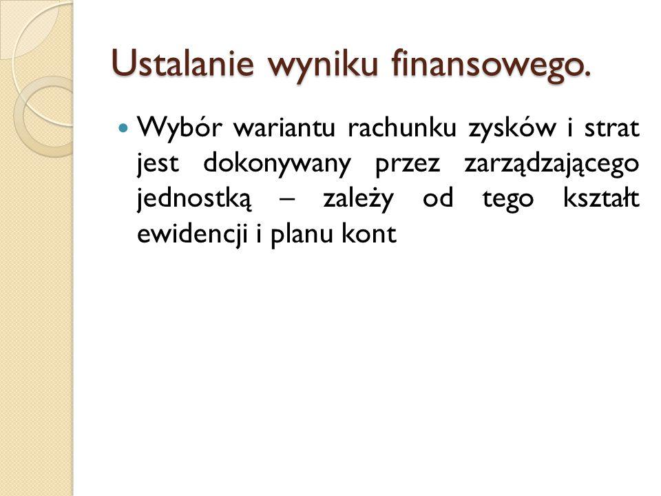 Ustalanie wyniku finansowego.