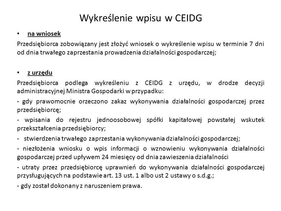 Wykreślenie wpisu w CEIDG