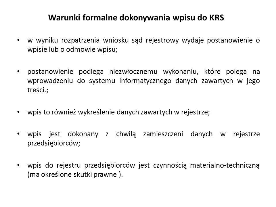 Warunki formalne dokonywania wpisu do KRS