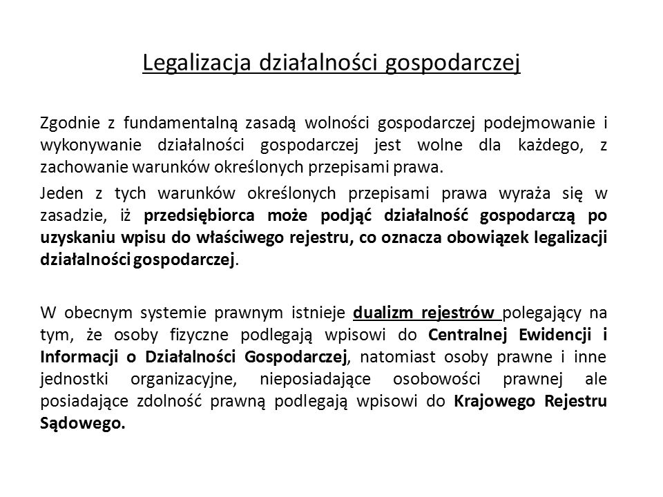 Legalizacja działalności gospodarczej