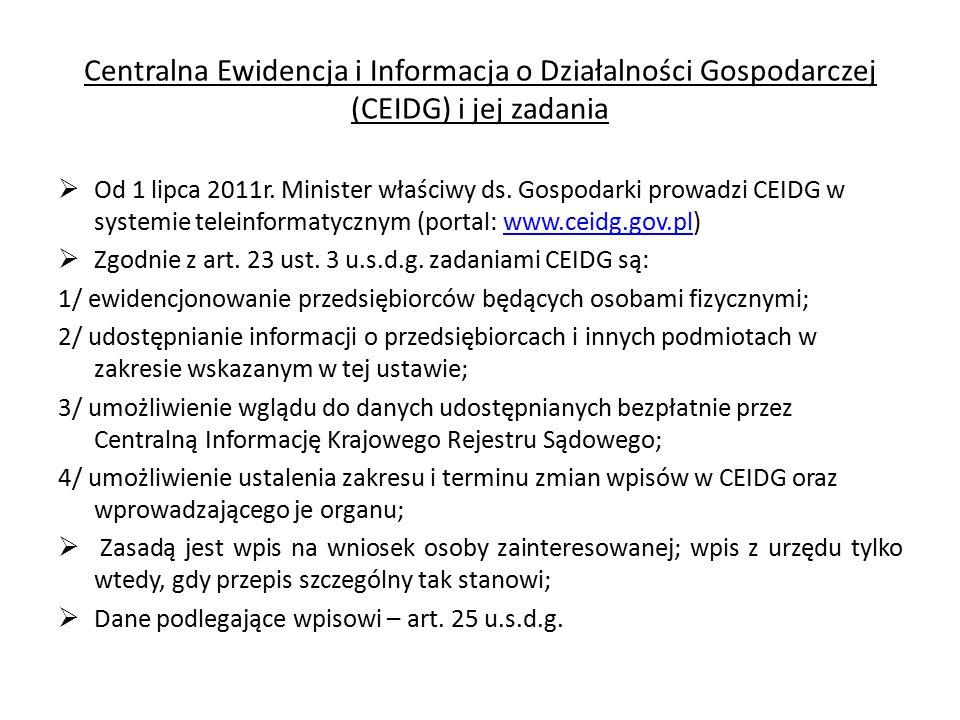 Centralna Ewidencja i Informacja o Działalności Gospodarczej (CEIDG) i jej zadania