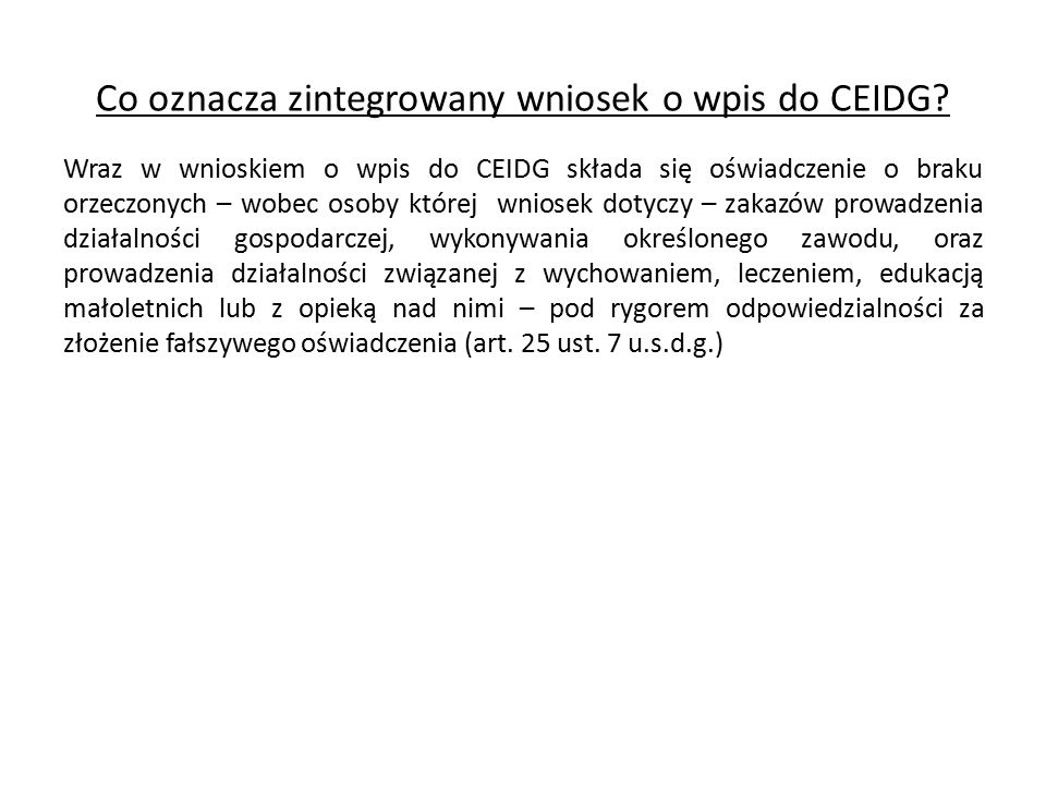 Co oznacza zintegrowany wniosek o wpis do CEIDG