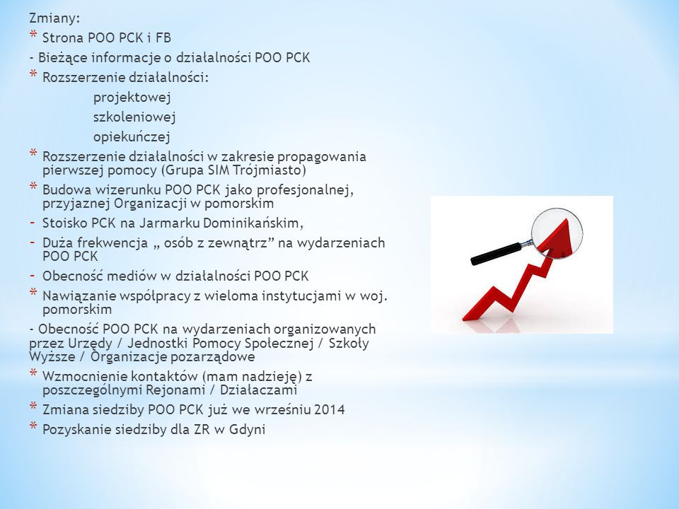 Zmiany: Strona POO PCK i FB. - Bieżące informacje o działalności POO PCK. Rozszerzenie działalności: