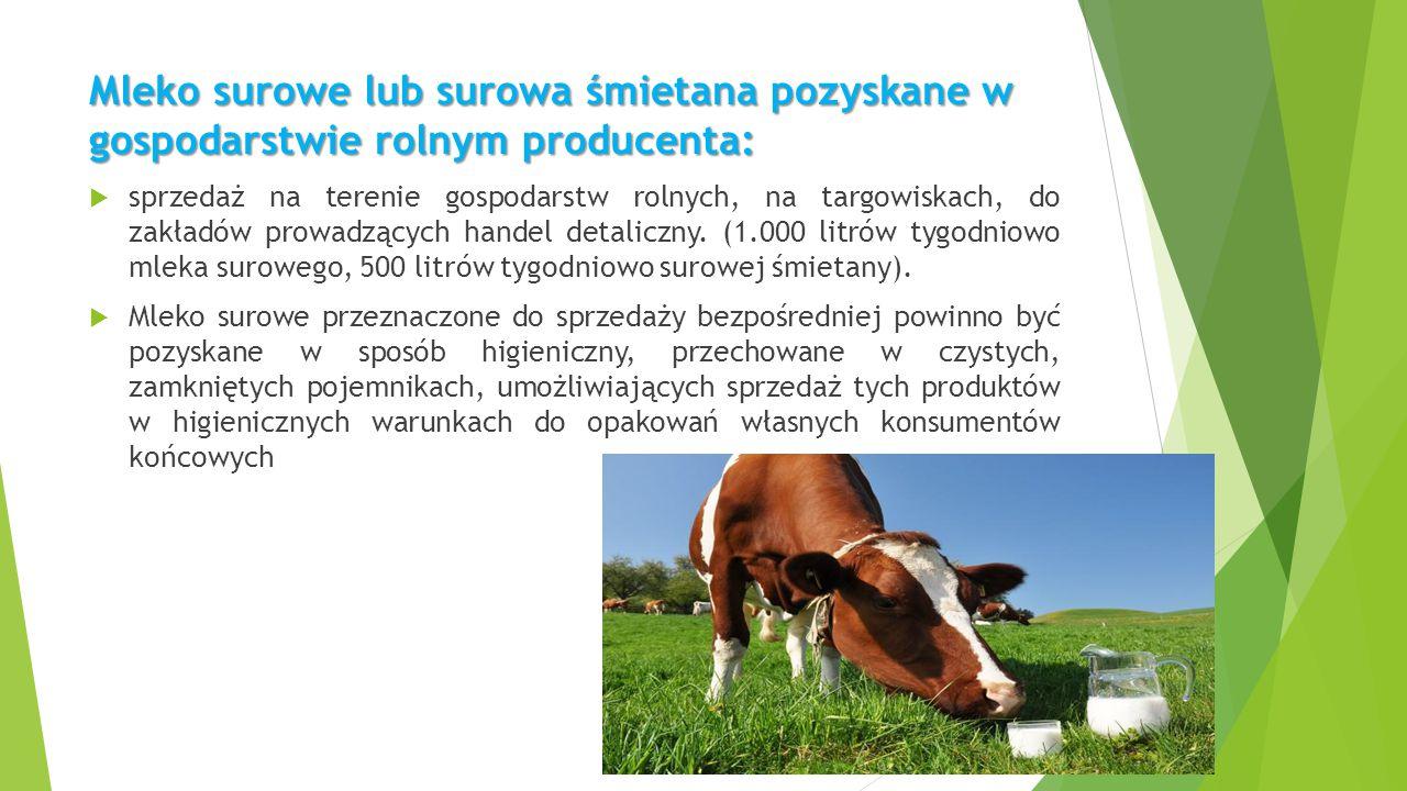 Mleko surowe lub surowa śmietana pozyskane w gospodarstwie rolnym producenta: