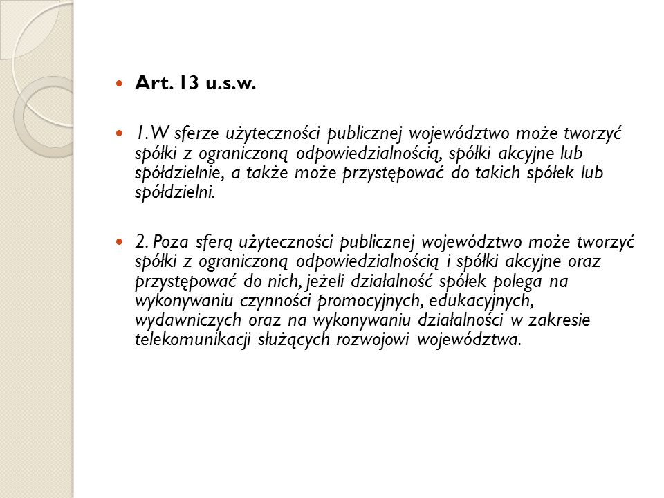 Art. 13 u.s.w.