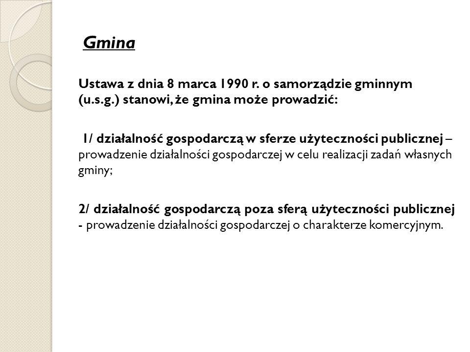 Gmina Ustawa z dnia 8 marca 1990 r. o samorządzie gminnym (u.s.g.) stanowi, że gmina może prowadzić: