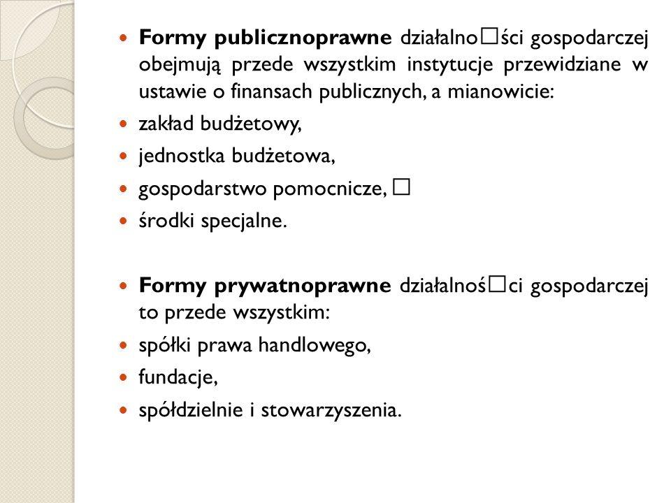 Formy publicznoprawne działalnoœści gospodarczej obejmują przede wszystkim instytucje przewidziane w ustawie o finansach publicznych, a mianowicie: