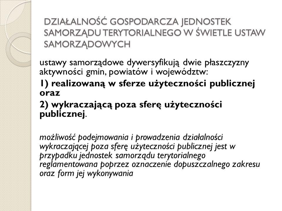 1) realizowaną w sferze użyteczności publicznej oraz
