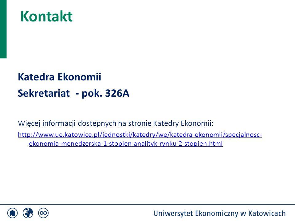 Kontakt Katedra Ekonomii Sekretariat - pok. 326A