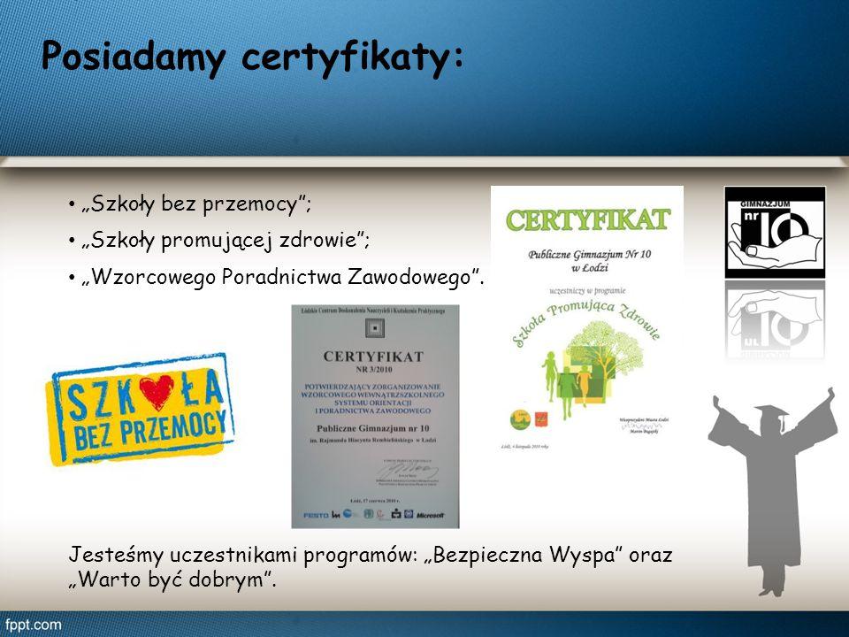 Posiadamy certyfikaty: