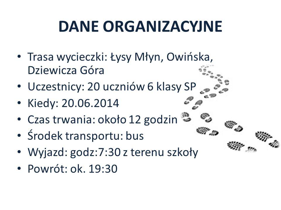 DANE ORGANIZACYJNE Trasa wycieczki: Łysy Młyn, Owińska, Dziewicza Góra