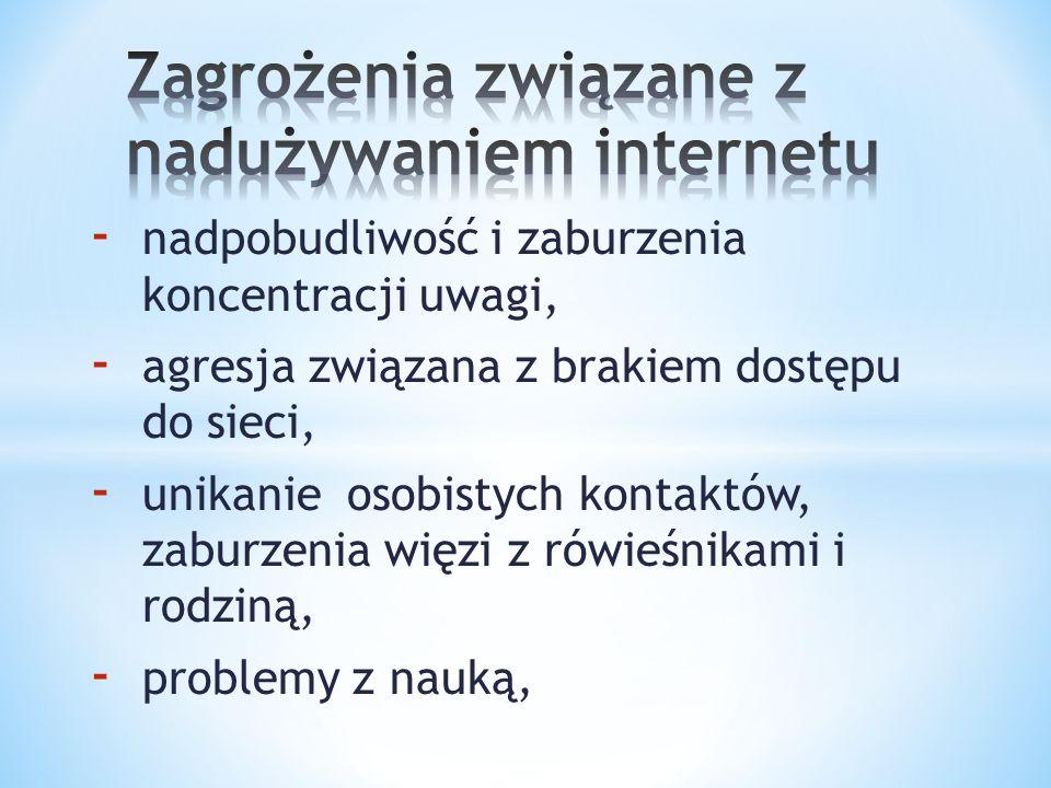 Zagrożenia związane z nadużywaniem internetu