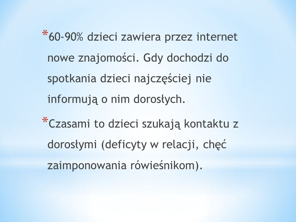 60-90% dzieci zawiera przez internet nowe znajomości