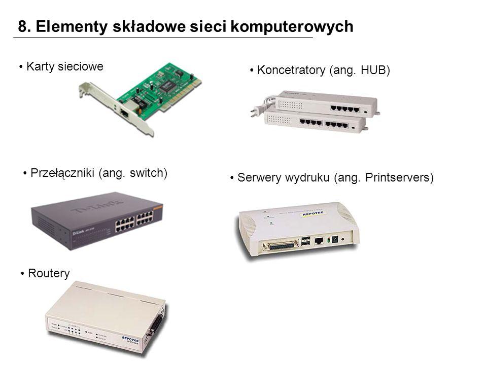 8. Elementy składowe sieci komputerowych