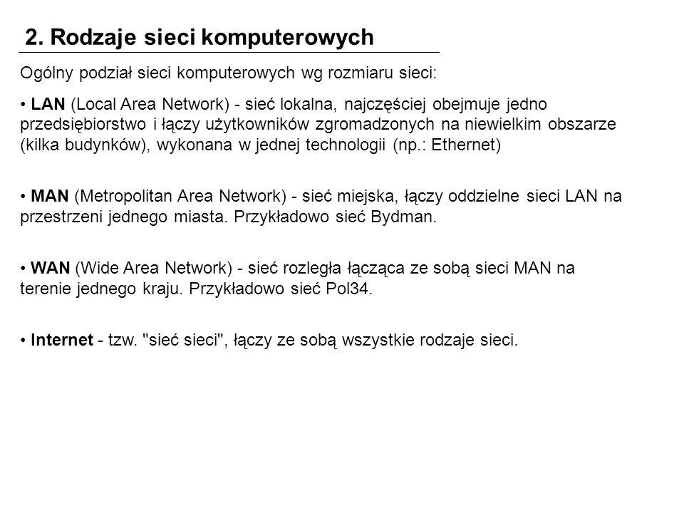 2. Rodzaje sieci komputerowych