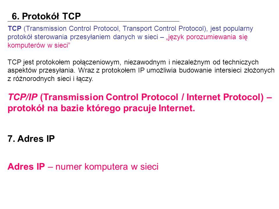 Adres IP – numer komputera w sieci
