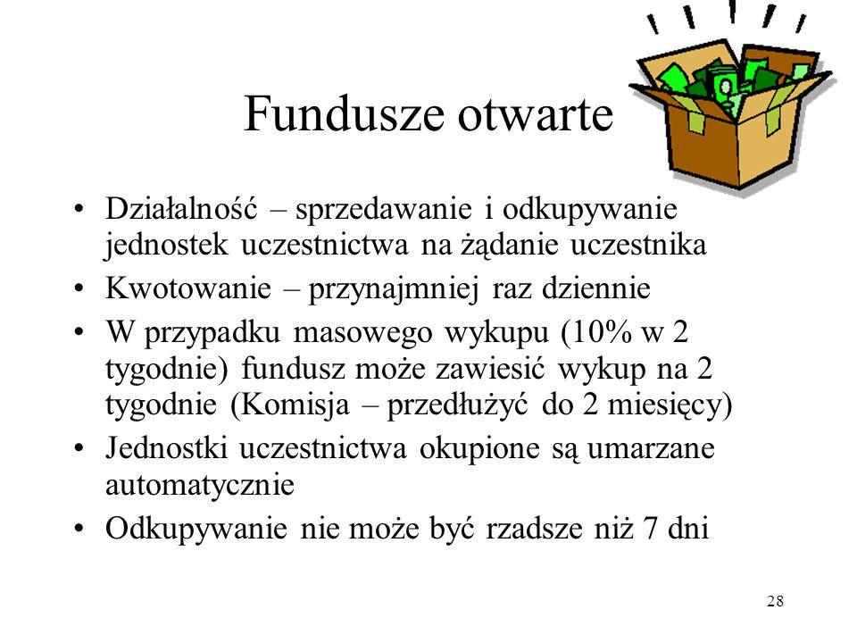 Fundusze otwarte Działalność – sprzedawanie i odkupywanie jednostek uczestnictwa na żądanie uczestnika.